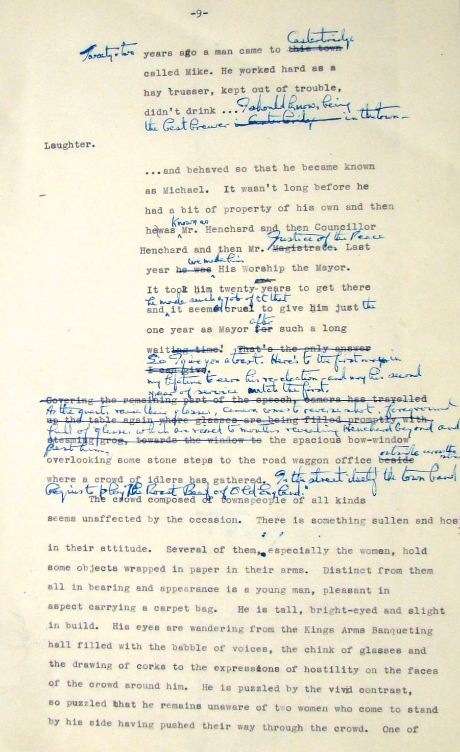 Annotated treatment for the unrealised 1949/50 adaptation of Thomas Hardy's The Mayor of Casterbridge, written by Wolfgang Wilhelm and to have been directed by Thorold Dickinson