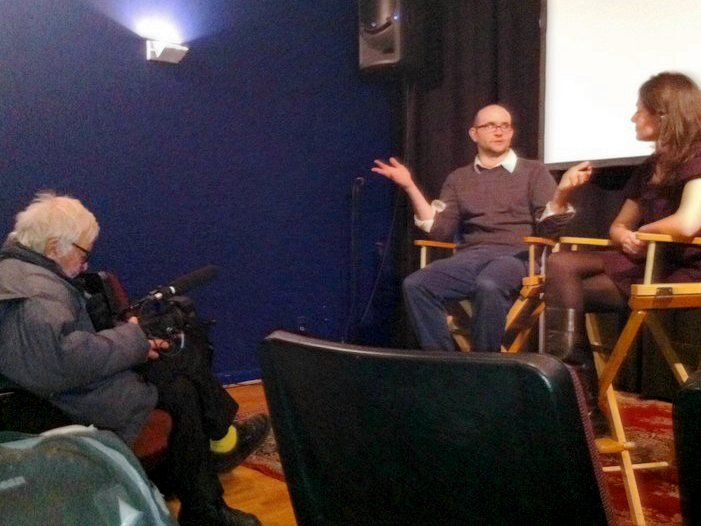 Albert Maysles (left) filming Robert Greene during a Q&A for Kati with an I at the Maysles Cinema in 2010
