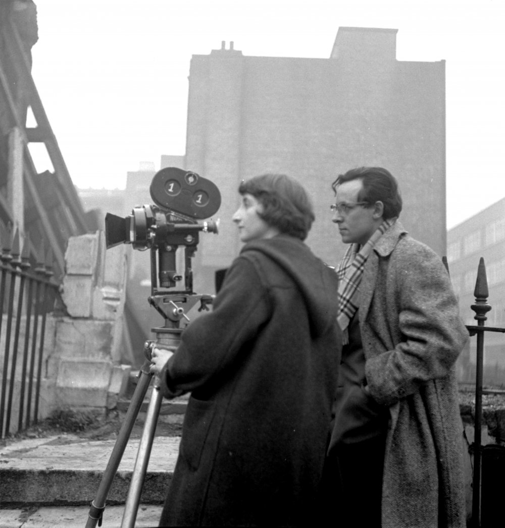 Italian-born Lorenza Mazzetti shooting the 1956 British Free Cinema feature Together with sound recordist (and editor) John Fletcher in London's Docklands