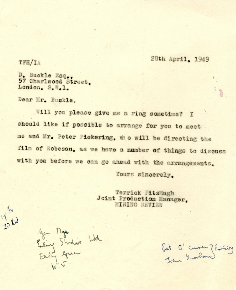 DATA's first contact with Robeson. Desmond Buckle was a London-based West African activist who acted as a sort of unofficial secretary for Robeson during his UK visit. Note the handwritten record of Robeson's answers to DATA's queries