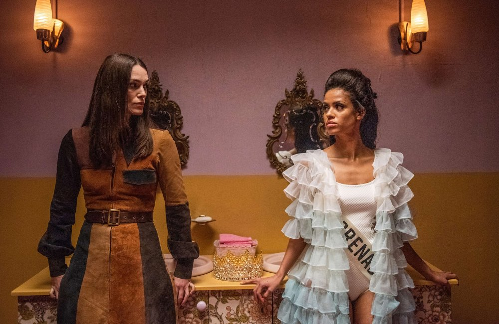Keira Knightley as Sally Alexander and Gugu Mbatha-Raw as Jennifer Hosten in Misbehaviour
