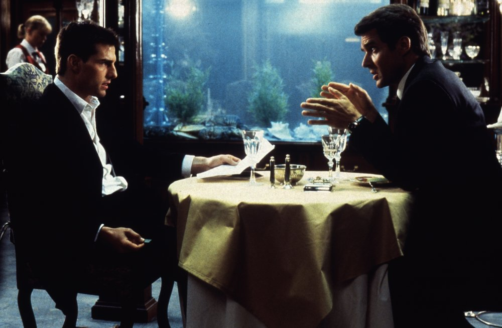 Tom Cruise in the restaurant scene from Mission Impossible (1996)