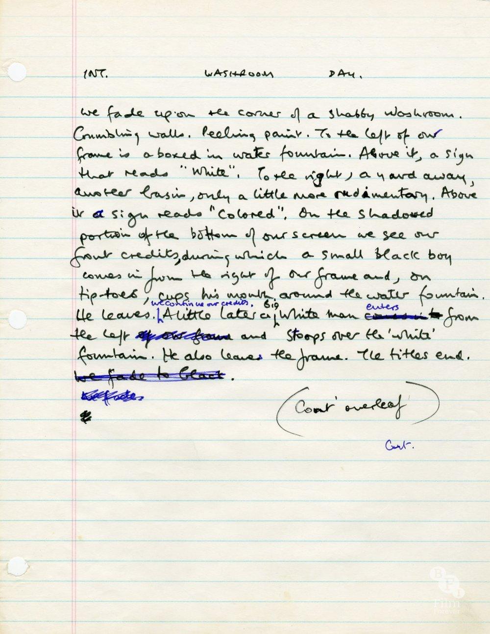 Alan Parker's final draft script for Mississippi Burning (1988)