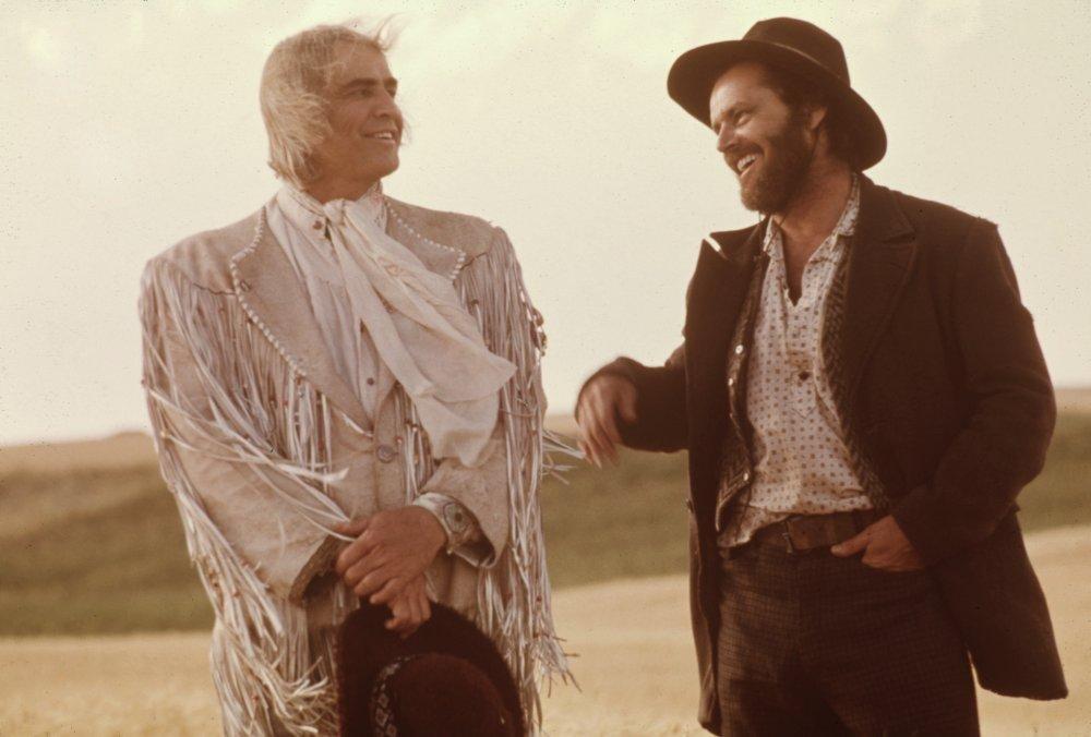 Marlon Brando as Lee Clayton and Jack Nicholson as Tom Logan in The Missouri Breaks (1976)