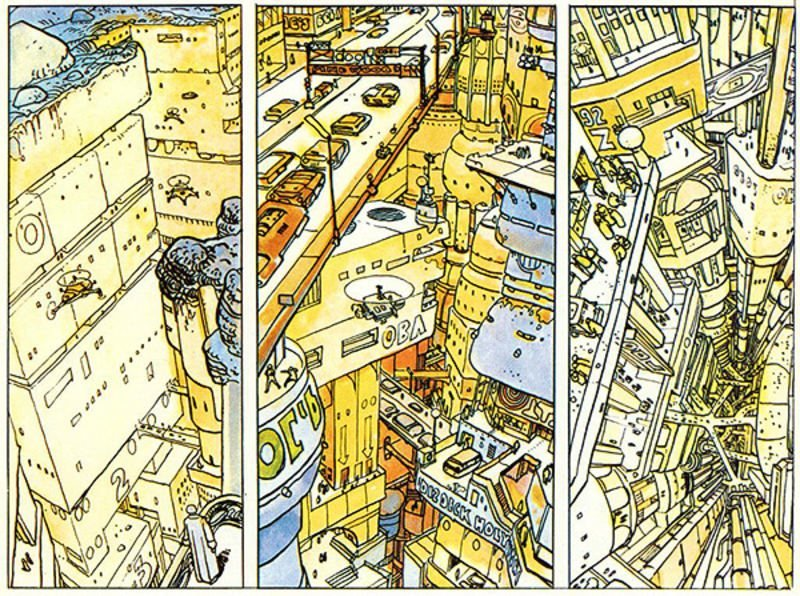 Moebius's futuristic city as seen in L'Inkal
