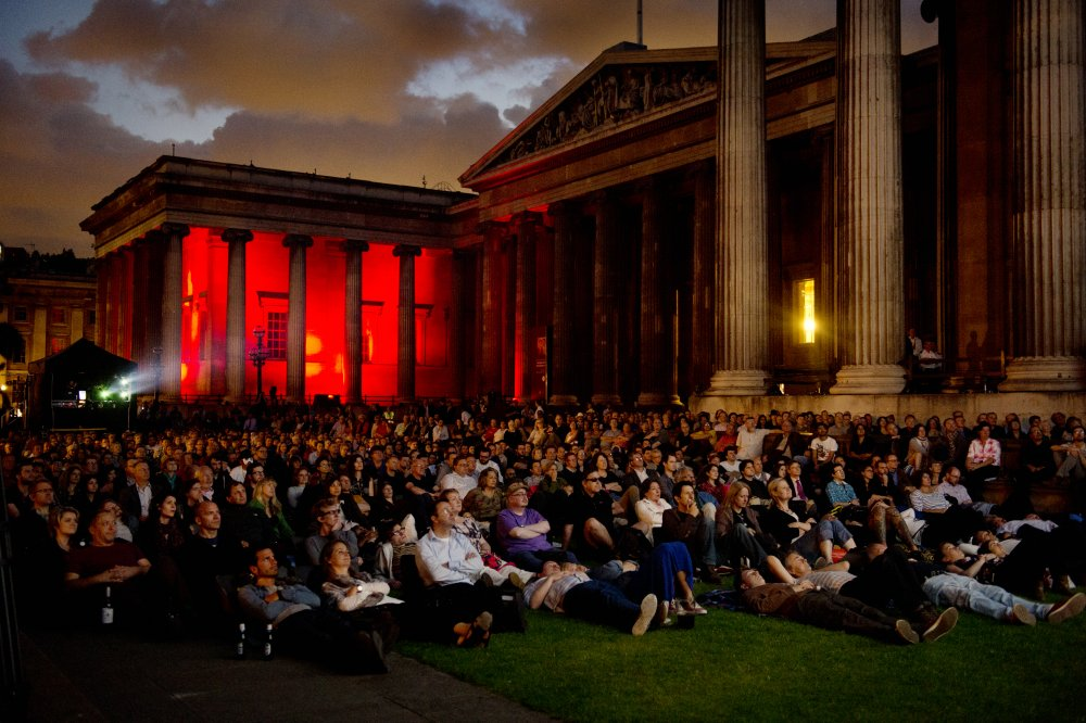 Night of the Demon screens as night falls over the British Museum forecourt