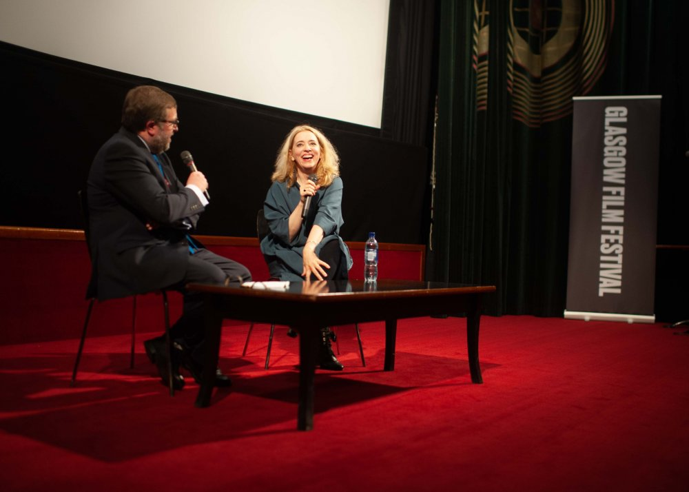 Carol Morley on stage for a Q&A after the Glasgow Film Festival screening of Out of Blue (2018)