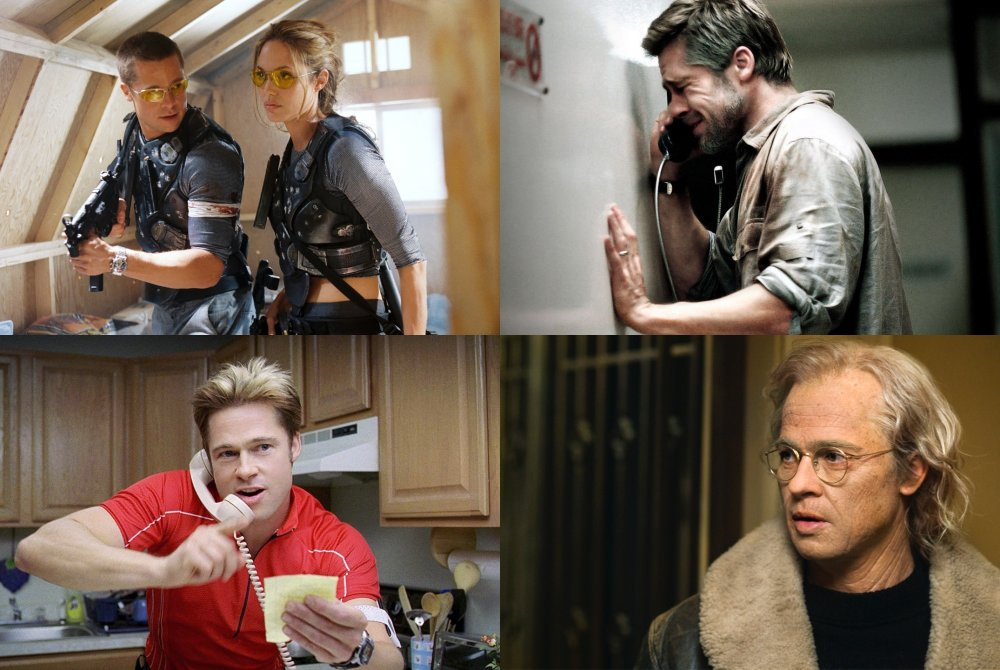 Clockwise from top left: as John Smith in Mr. and Mrs. Smith; as Richard Jones in Babel; as Benjamin Button in The Curious Case of Benjamin Button; as Chad Feldheimer in Burn After Reading
