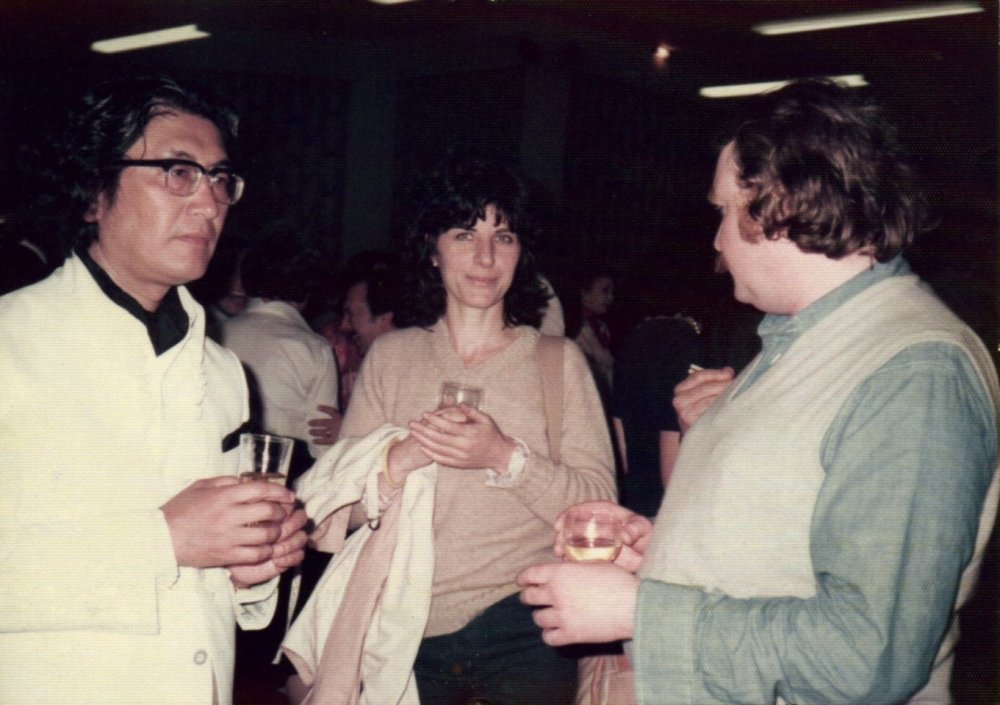 Director Oshima Nagisa, Pam Engel and Andi Engel at a 1978 Cannes Film Festival party