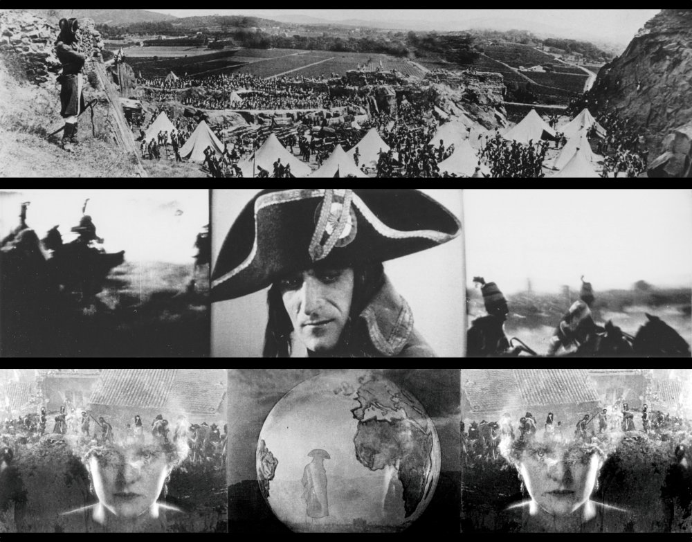 Three frames from Napoleon's famous three-panel final act