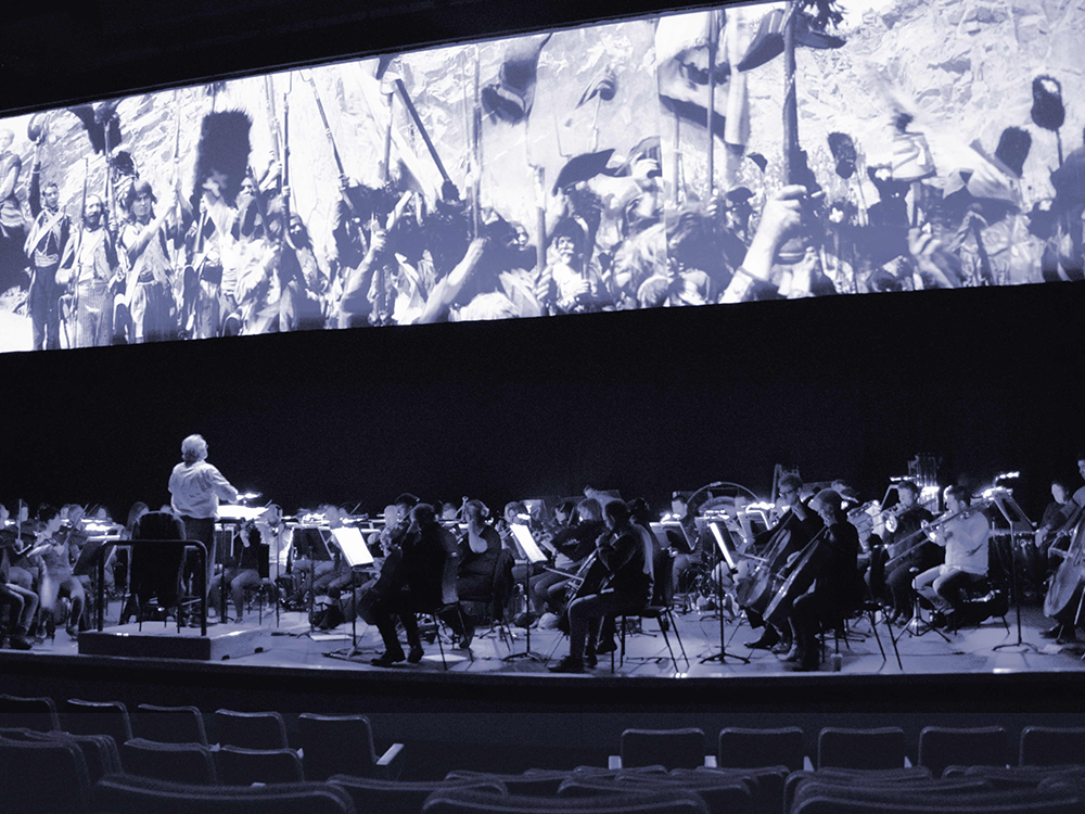 Carl Davis and the Philharmonia Orchestra rehearse for the Napoleon screening at Royal Festival Hall in November 2016
