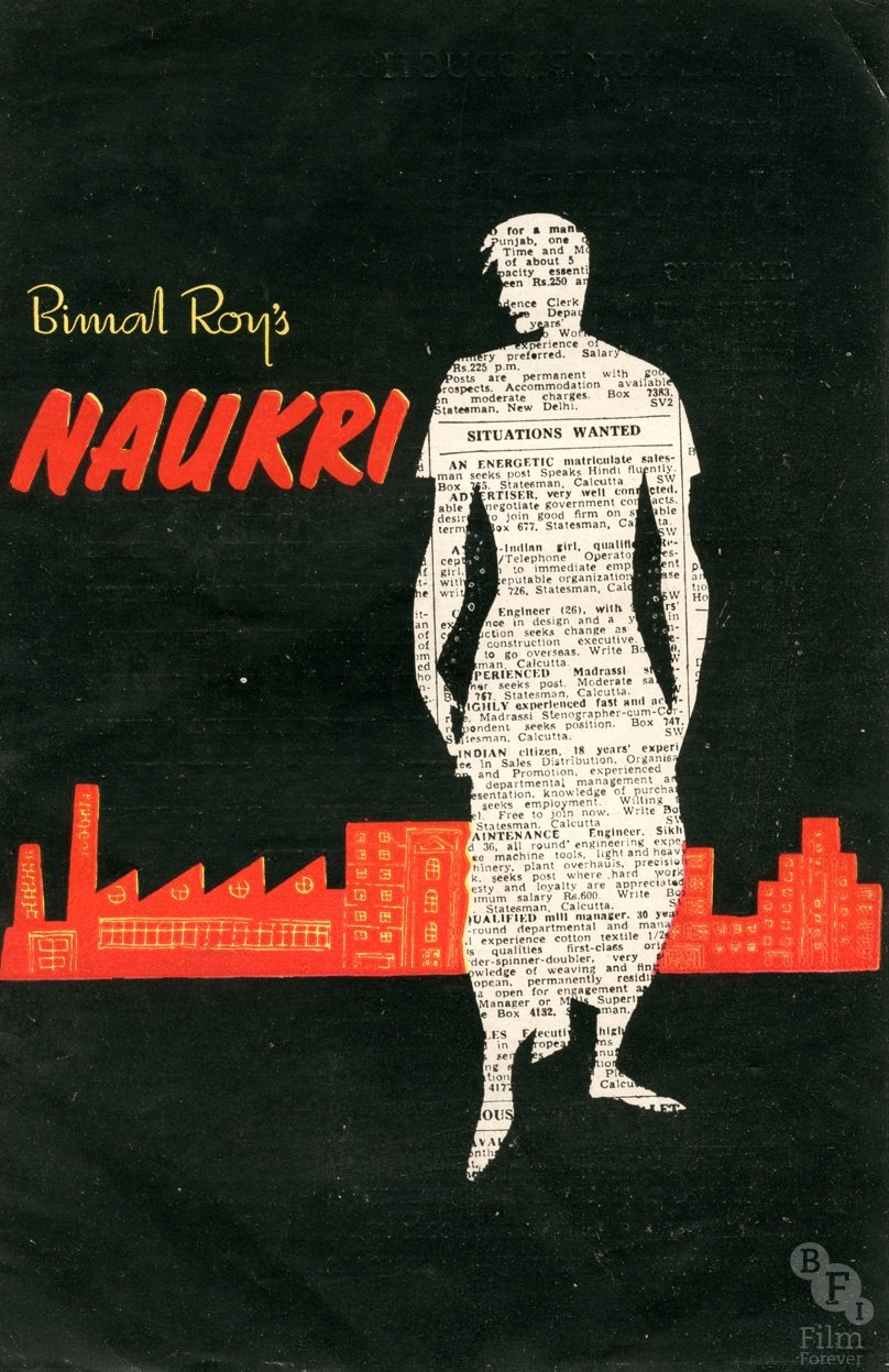 """<strong>Naukri (1955) </strong> A recurrent concern of post-Partition cinema was the tension between urban and rural India. With the growth of India's urban population, the city became a focal point for cinematic stories, often being depicted as hostile and cruel. The striking artwork for <a href=""""http://www.bfi.org.uk/films-tv-people/4ce2b74b00f32"""">Naukri</a> (which translates as 'Job') depicts a lone figure against a stark and stylised urban backdrop. The use of the newspaper job advertisement picks up the film's theme of young people searching for work"""