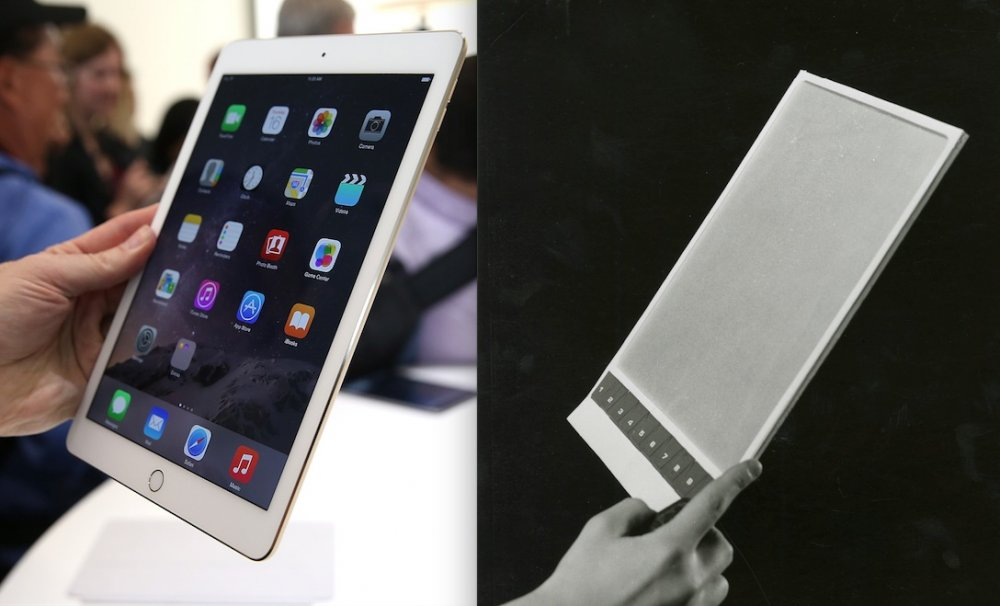 The Apple iPad and an original design for the Newspad in 2001: A Space Odyssey (1968)