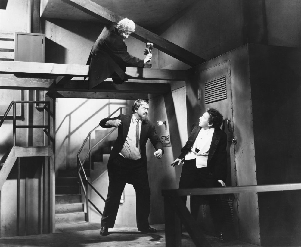Sig Ruman caught between two Marxes as impressario Herman Gottlieb in A Night at the Opera (1935).