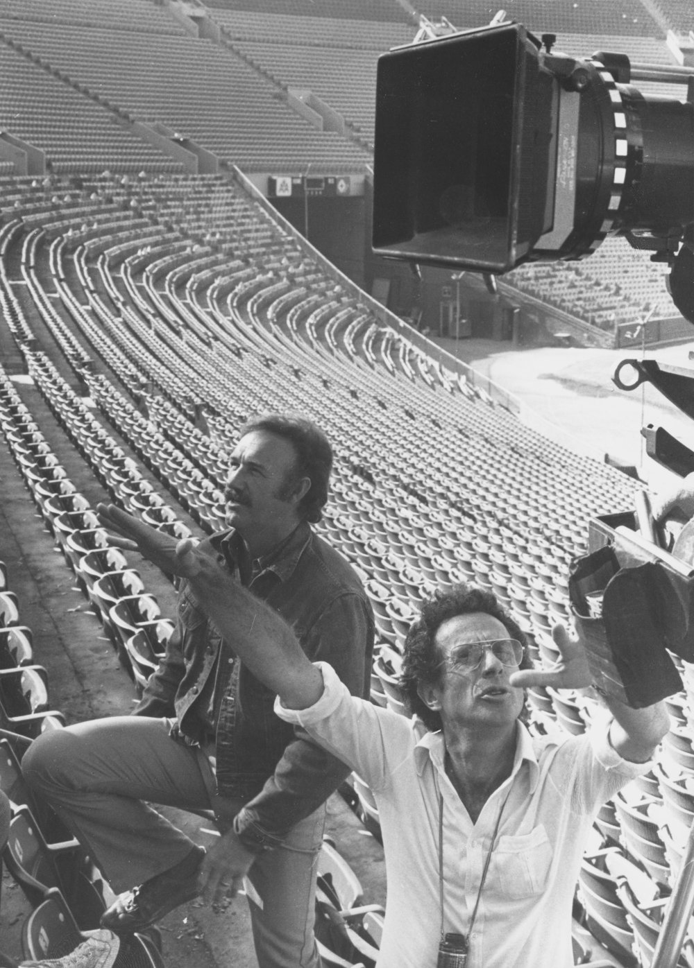Pictured directing Gene Hackman in Night Moves (1975)