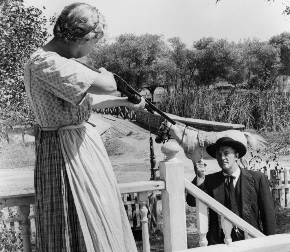 Lilian Gish and Robert Mitchum in Charles Laughton's sole venture behind the camera Night of the Hunter (1955)