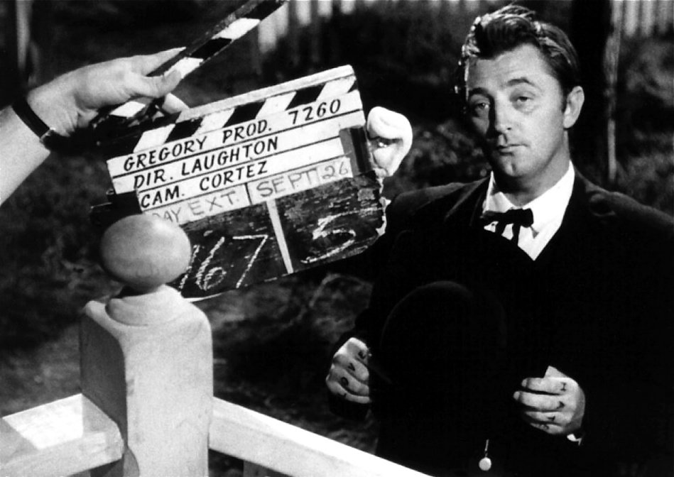 With the snap of that clapperboard, actor Robert Mitchum will transform into psychotic, self-styled preacher Harry Powell for a scene of crackling menace in Charles Laughton's visionary 1955 fable The Night of the Hunter.