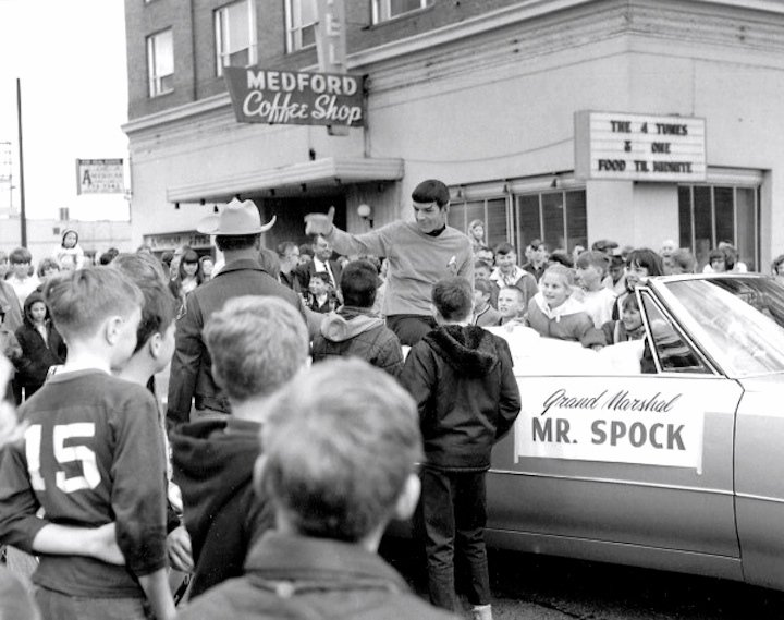 Leonard Nimoy in costume as Lieutenant Spock as the Grand Marshall of the 1967 Pear Blossom Festival in Medford, Oregon