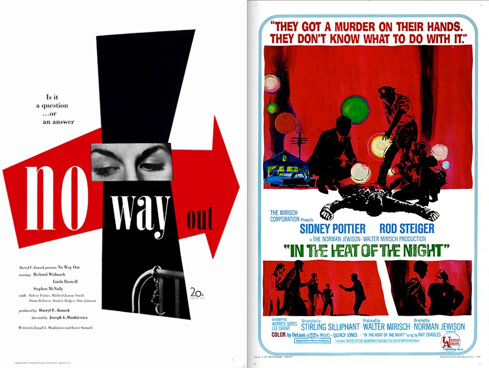 Where is Sidney Poitier in these artful posters for No Way Out (1950) and In the Heat of the Night (1967)?