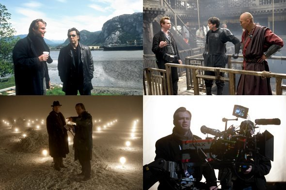 Christopher Nolan directing (clockwise from top left): Insomnia; Batman Begins; The Dark Knight Rises; The Prestige.