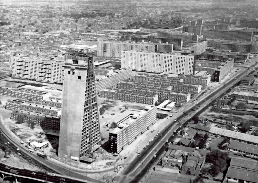 An aerial shot of the Conjunto Urbano Nonoalco Tlatelolco