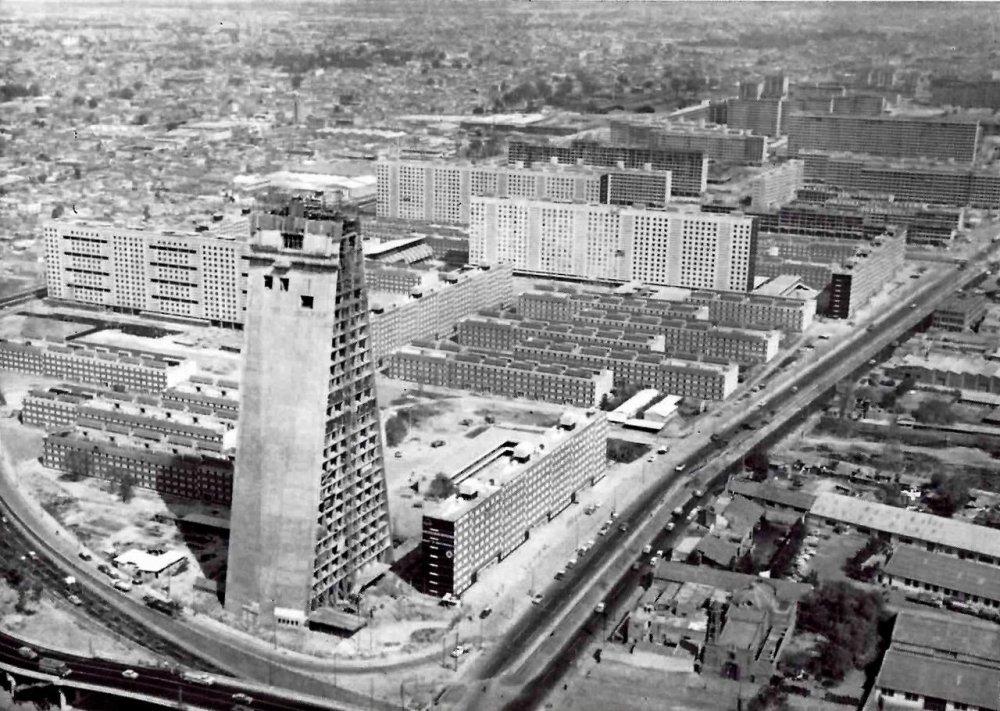 An aerial shot of the Conjunto Urbano Nonoalco Tlatelolco