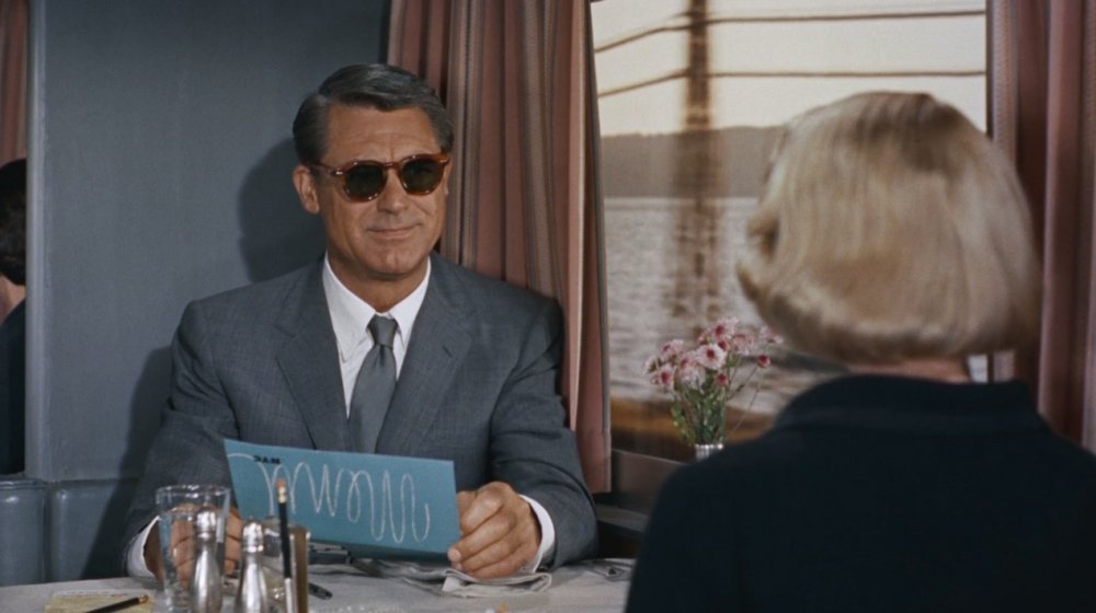 Cary Grant as advertising-executive-on-the-run Roger O. Thornhill in Alfred Hitchcock's classic thriller North by Northwest
