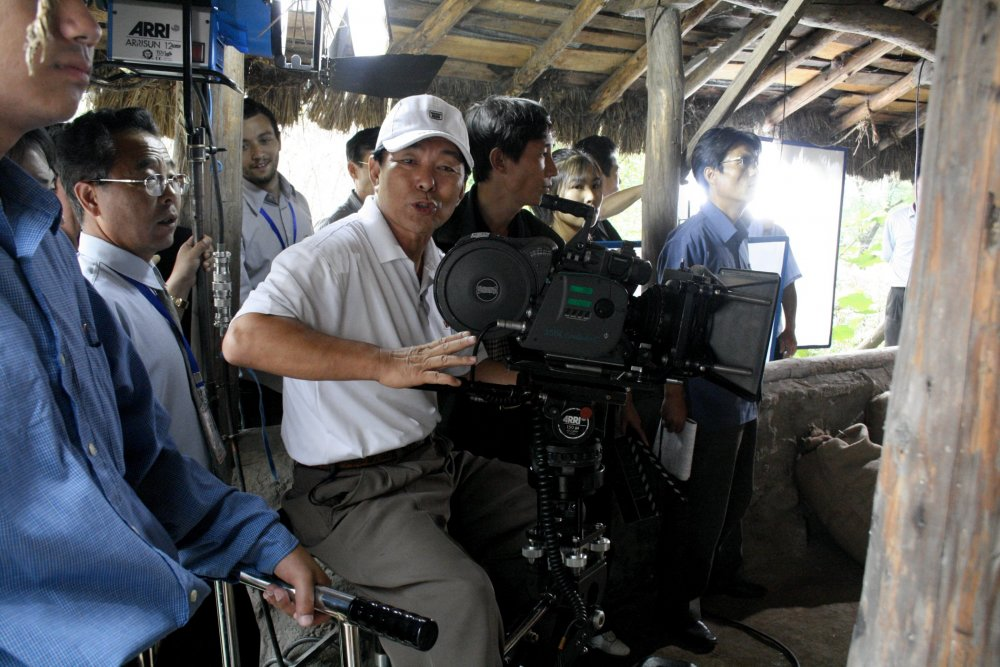 Journalists were shown North Korean filmmakers at work on the lot
