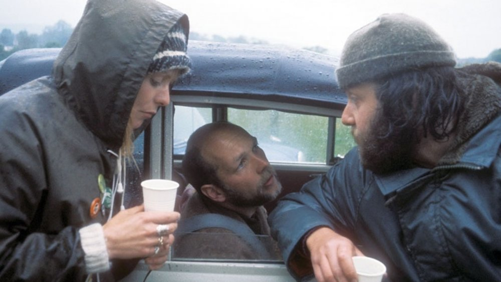 Actors Alison Steadman and Roger Sloman with director Mike Leigh (right) during production of Nuts in May (1976)