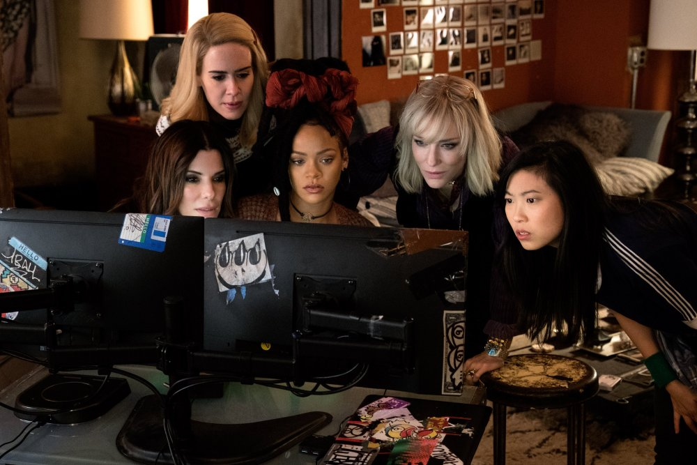 Sandra Bullock as Debbie Ocean, Sarah Paulson as Tammy, Rihanna as Nine Ball, Cate Blanchett as Lou and Awkwafina as Constance in Ocean's Eight