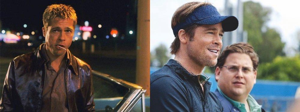 Left: as Rusty Ryan in Ocean's Eleven; right: as Billy Beane in Moneyball