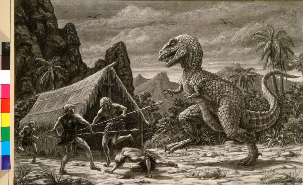 Image result for dinosaurs and cavemen