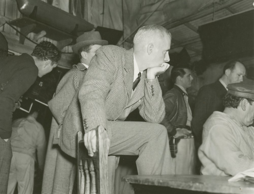 Howard Hawks on the set of Only Angels Have Wings (1939)