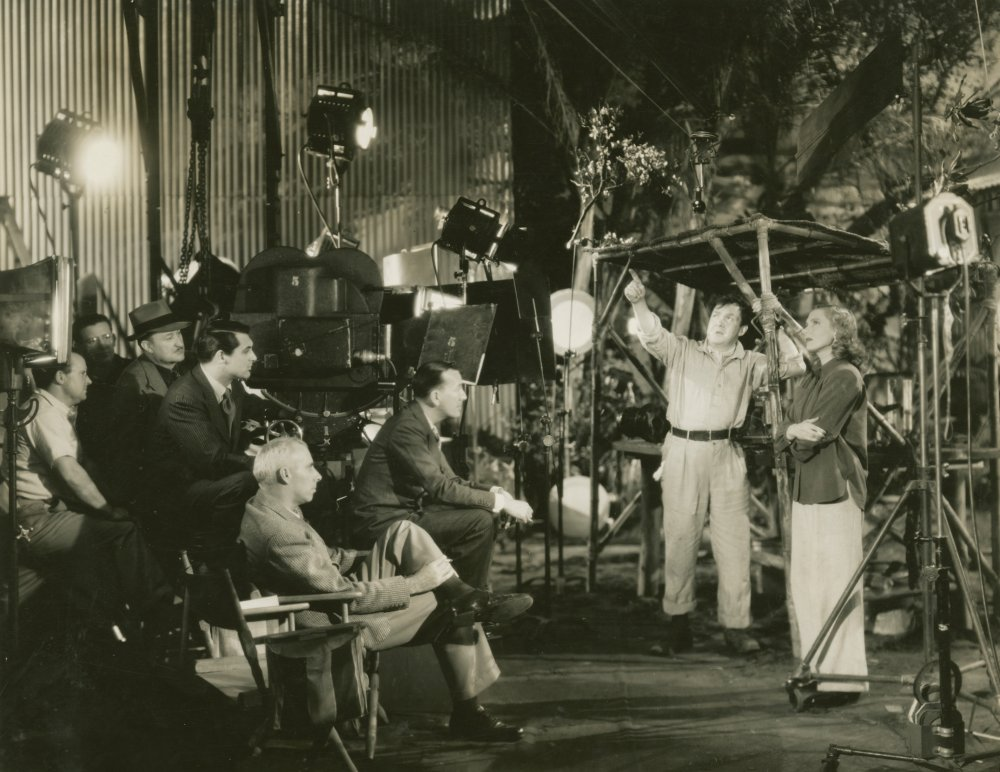 Howard Hawks, cast and crew on the set of Only Angels Have Wings (1939)