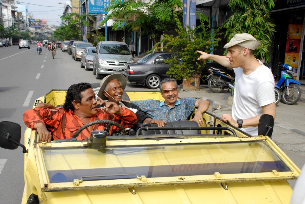 Ride with the devil: Joshua Oppenheimer directing Haji Anif, Anwar Congo and Adi Zulkadry on the streets of Medan, North Sumatra
