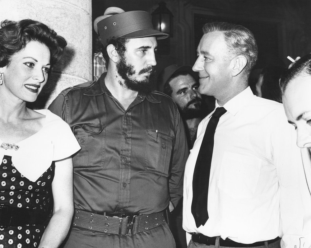 Actors Maureen O'Hara and Alec Guinness meet Fidel Castro on the set of Our Man in Havana (1959)