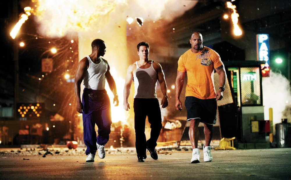 Bad boys: Anthony Mackie, Mark Wahlberg and Dwayne Johnson