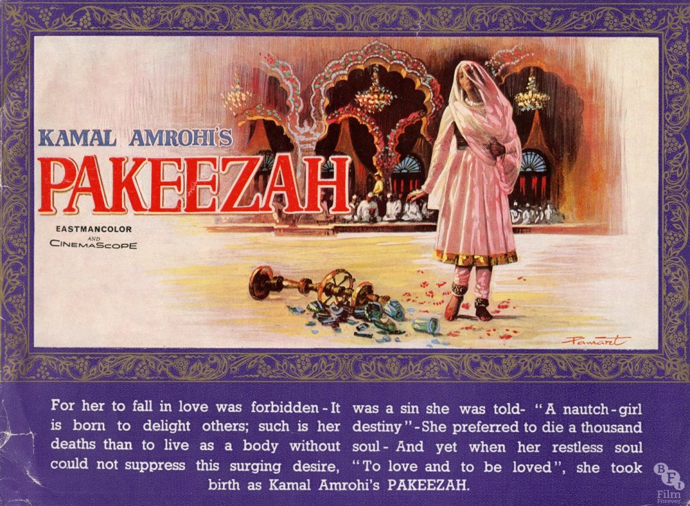 """<strong>Pakeezah (1971)</strong>  'Pakeezah' means 'pure heart' or 'the pure one'. The <a href=""""http://www.bfi.org.uk/films-tv-people/4ce2b7e3c18d6"""">film</a> is set in Muslim Lucknow at the turn of the 20th century and tells the story of a courtesan who is unable to leave her past behind. This poster takes the film's most powerful and famous scene, in which <a href=""""http://www.bfi.org.uk/films-tv-people/4ce2ba1e8bd76"""">Meena Kumari</a> (in a stunning final performance), dressed in pure white, dances over broken glass at the wedding of her former lover"""