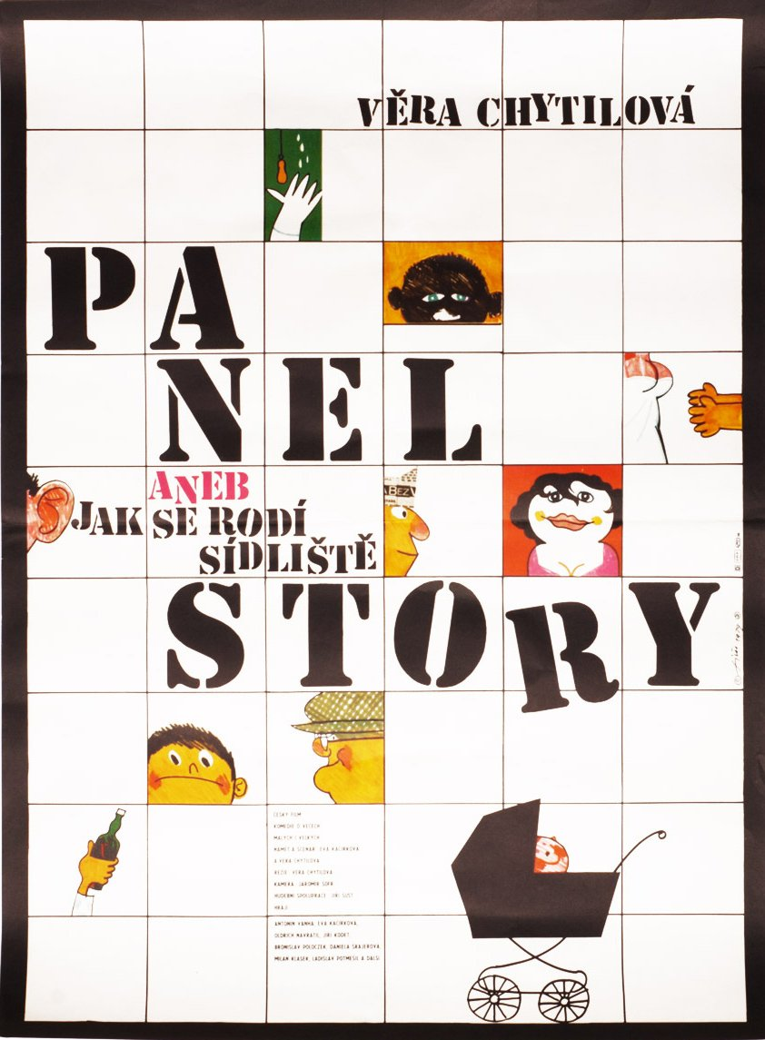 Fiser opted for a hand-painted approach for the playful poster for Panel Story (1979).