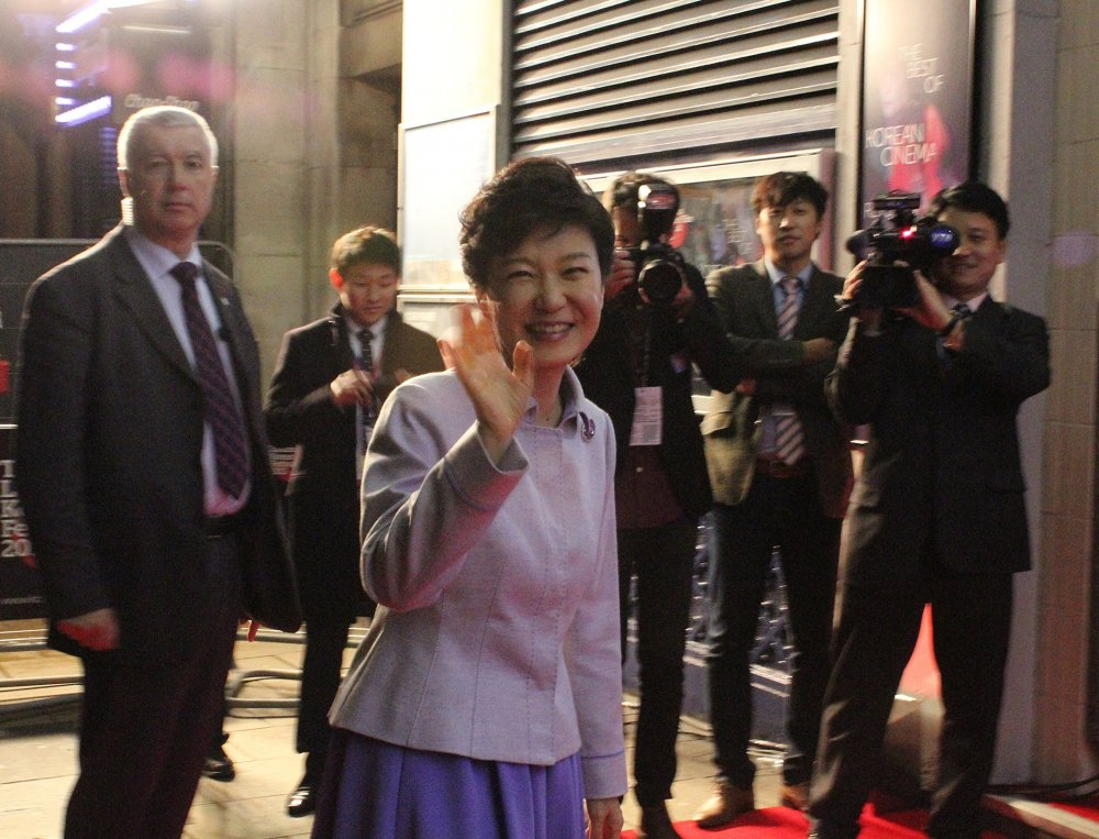 South Korean President Park Geun-hye arriving at the opening of the London Korean Film Festival.