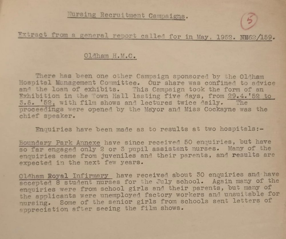 Part of the recruitment campaign report for Oldham, Lancashire, 1952
