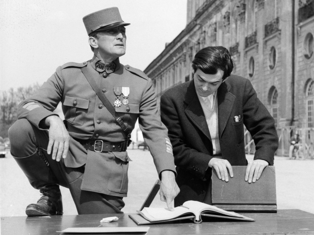 Kirk Douglas and Stanley Kubrick on location at Schleissheim Palace, Munich, Germany for Paths of Glory (1957)