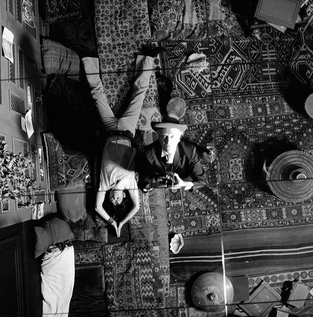 Mick Jagger and Cecil Beaton on the set of Performance (1970)