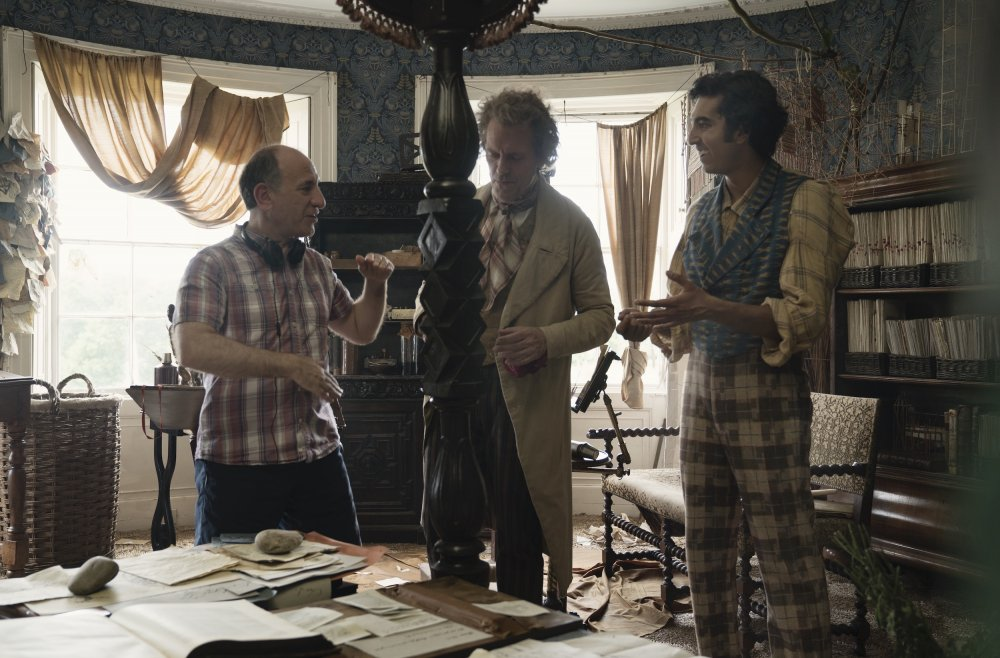 Armando Iannucci directing Hugh Laurie (playing Mr Dick) and Dev Patel as David Copperfield