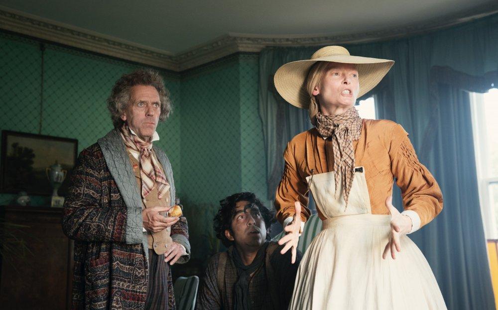 Patel between Hugh Laurie as Mr Dick and Tilda Swinton as Betsey Trotwood