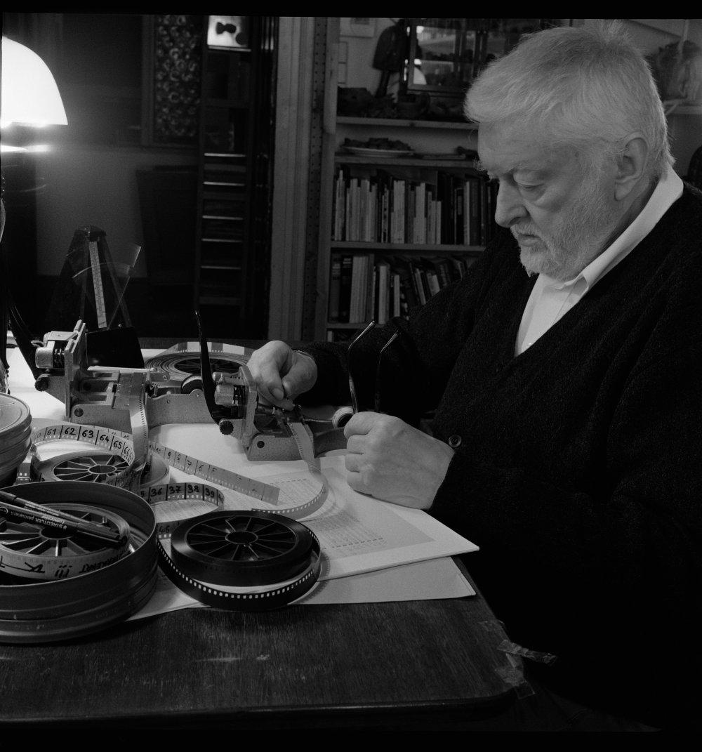 Peter Kubelka working on Antiphon (2012)