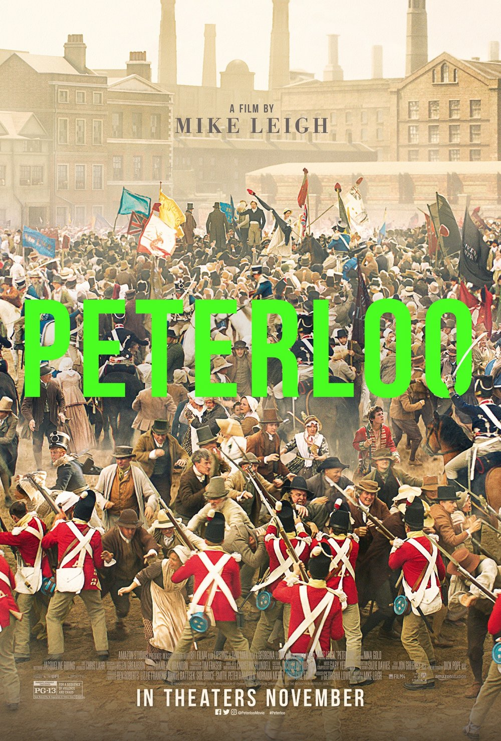<strong>Peterloo</strong> – Mike Leigh orchestrates a superb ensemble cast in this rousing tale of working class uprising and its violent suppression in Manchester in 1819