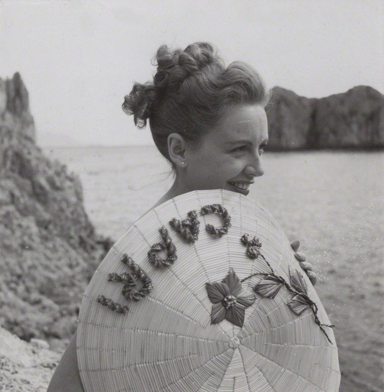 Phyllis Calvert by the sea during the filming of Golden Madonna (1949)