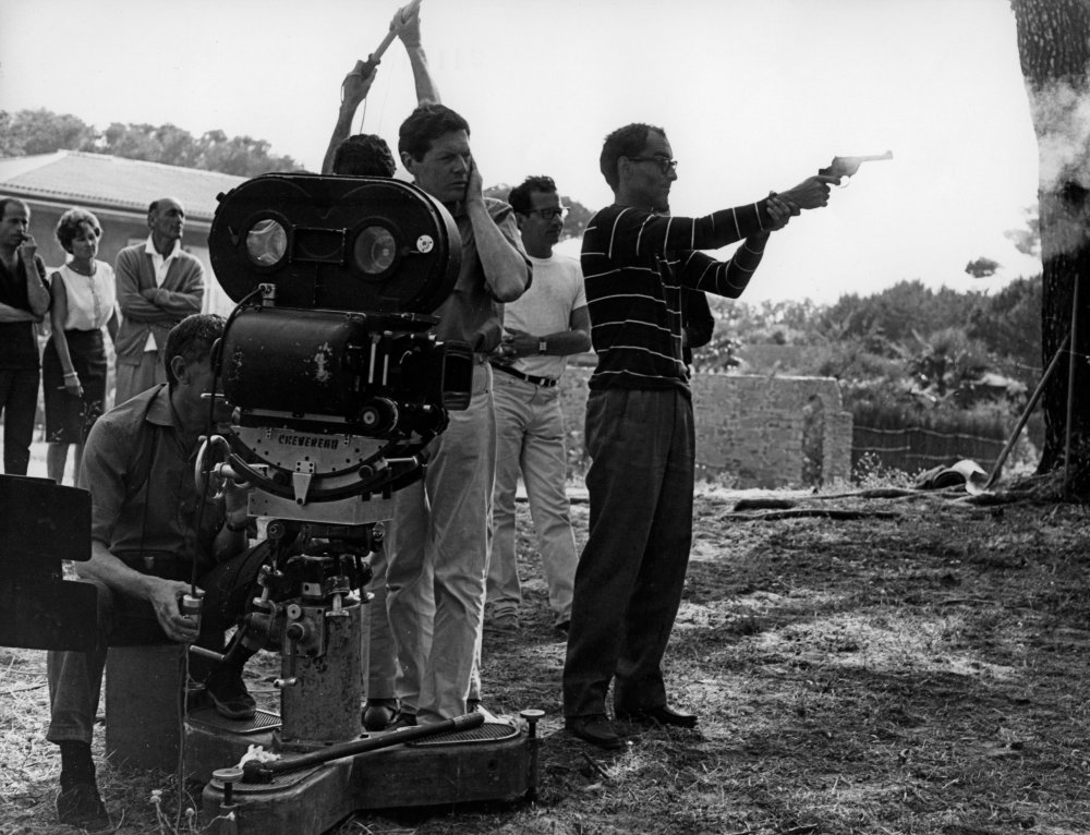 Shooting a revolver on the Riviera: Godard tests his firepower during the filming of Pierrot le fou in the south of France
