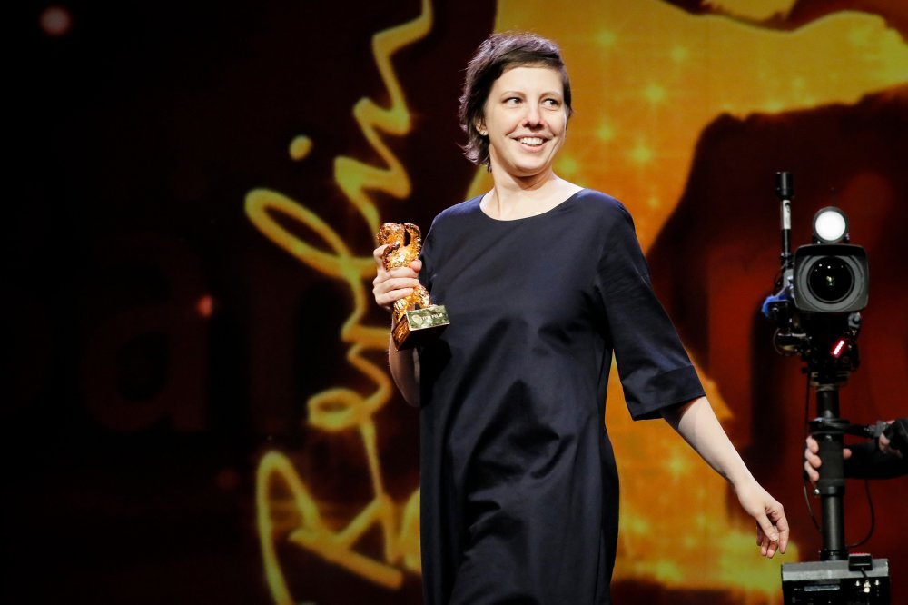 Adina Pintile with her Golden Bear for Best Film for Touch Me Not